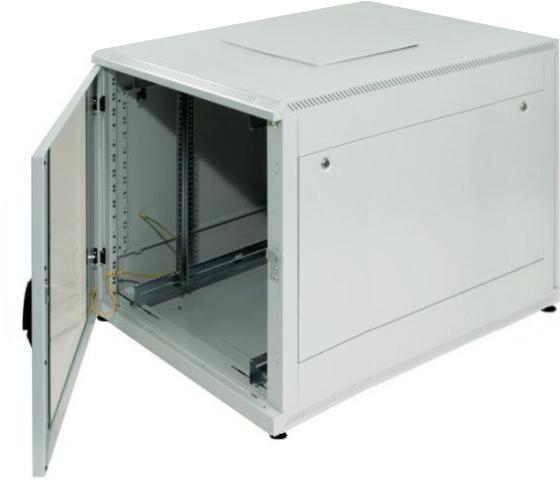 kleiner Serverschrank 15 HE, 600x1100x770 (BxTxH), lichtgrau. 19 ...