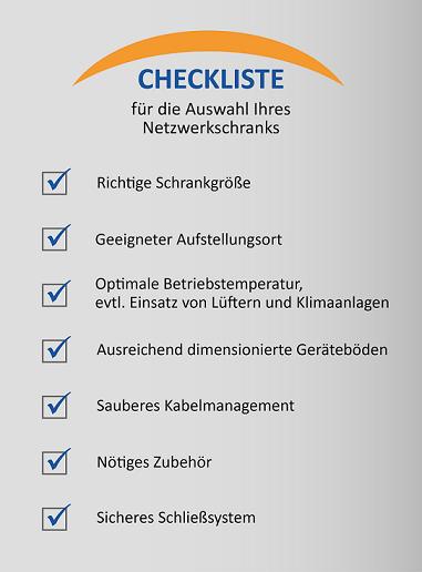 Checkliste Auzswahl Serverschrank
